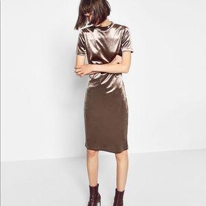 Zara Silver Velvet Dress